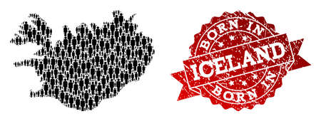 People crowd collage of black population map of Iceland and rubber seal stamp. Vector red seal with unclean rubber texture has Born In text. Mosaic map of Iceland designed with standing persons.