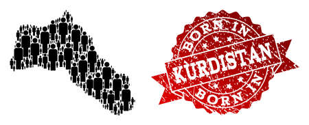 People crowd combination of black population map of Kurdistan and rubber seal stamp. Vector red seal with scratched rubber texture has Born In text.