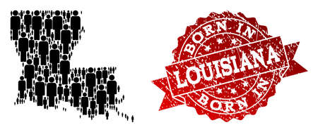 People crowd combination of black population map of Louisiana State and scratched seal. Vector red seal with corroded rubber texture has Born In text.