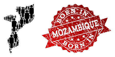 People crowd composition of black population map of Mozambique and unclean seal stamp. Vector red seal with unclean rubber texture has Born In text.