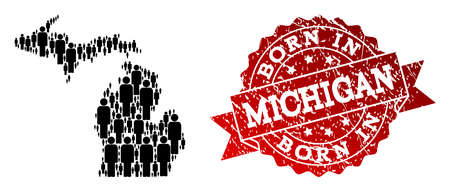 People crowd collage of black population map of Michigan State and unclean seal stamp. Vector red seal with unclean rubber texture has Born In text.