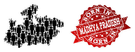 People crowd combination of black population map of Madhya Pradesh State and grunge seal stamp. Vector red seal with grunge rubber texture has Born In text. Illustration