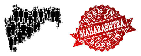 People crowd composition of black population map of Maharashtra State and rubber seal. Vector red seal with scratched rubber texture has Born In text. 일러스트