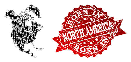 People crowd composition of black population map of North America and rubber seal. Vector red seal with distress rubber texture has Born In text.