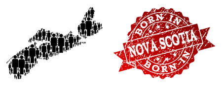 People crowd combination of black population map of Nova Scotia Province and scratched stamp. Vector red watermark with scratched rubber texture has Born In text.