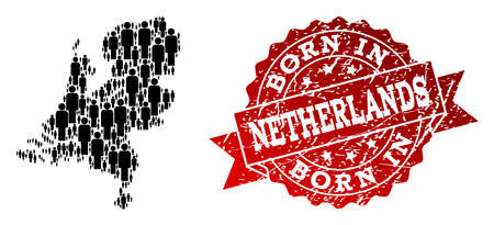 People crowd composition of black population map of Netherlands and grunge seal stamp. Vector red seal with grunge rubber texture has Born In text. Ilustração