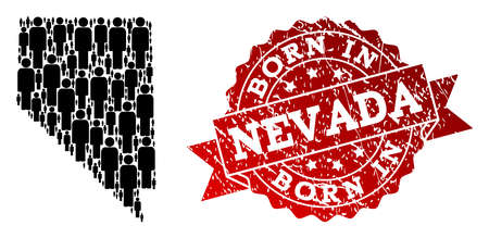 People crowd composition of black population map of Nevada State and rubber seal stamp. Vector red seal with corroded rubber texture has Born In text.