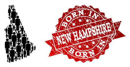 People crowd combination of black population map of New Hampshire State and corroded seal stamp. Vector red seal with grunge rubber texture has Born In text.