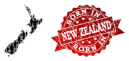 People crowd collage of black population map of New Zealand and corroded seal. Vector red seal with grunge rubber texture has Born In text. Mosaic map of New Zealand constructed with standing persons.