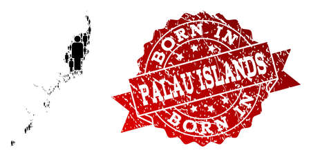 People crowd combination of black population map of Palau Islands and scratched seal. Vector red seal with scratched rubber texture has Born In text.
