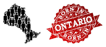 People crowd composition of black population map of Ontario Province and rubber seal stamp. Vector red seal with grunge rubber texture has Born In text.