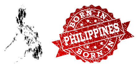 People crowd combination of black population map of Philippines and scratched seal. Vector red seal with scratched rubber texture has Born In text.