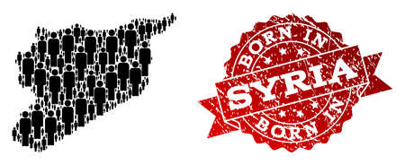 People crowd collage of black population map of Syria and rubber seal. Vector red seal with grunge rubber texture has Born In text. Mosaic map of Syria constructed with standing persons. Ilustração