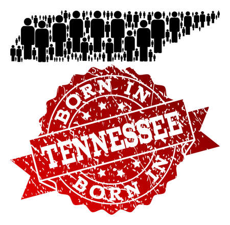 People crowd collage of black population map of Tennessee State and rubber seal stamp. Vector red seal with scratched rubber texture has Born In text.
