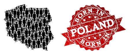 People crowd composition of black population map of Poland and rubber seal stamp. Vector red seal with unclean rubber texture has Born In text. Mosaic map of Poland constructed with standing persons.