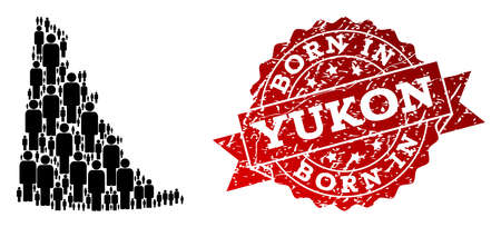 People crowd combination of black population map of Yukon Province and textured seal stamp. Vector red seal with grunge rubber texture has Born In text.