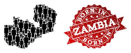 People crowd collage of black population map of Zambia and scratched seal stamp. Vector red watermark with scratched rubber texture has Born In text. Ilustração