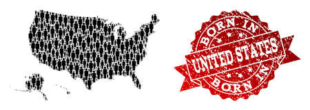 People crowd combination of black population map of USA territories and scratched seal. Vector red seal with scratched rubber texture has Born In text. Ilustrace