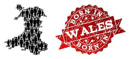 People crowd combination of black population map of Wales and rubber seal stamp. Vector red watermark with distress rubber texture has Born In text. Mosaic map of Wales designed with standing persons.