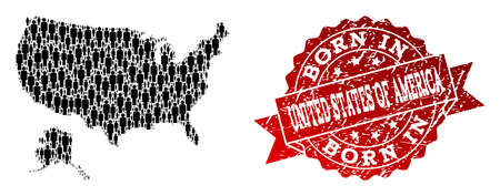 People crowd collage of black population map of USA and Alaska and unclean seal stamp. Vector red seal with unclean rubber texture has Born In text.