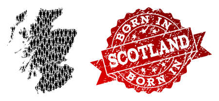 People crowd composition of black population map of Scotland and unclean seal stamp. Vector red seal with unclean rubber texture has Born In text. Standard-Bild