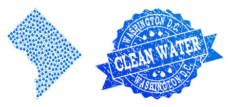 Map of District Columbia vector mosaic and clean water grunge stamp. Map of District Columbia designed with blue water tears. Seal with grunge rubber texture for clean drinking water. Illustration