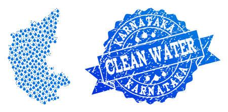Map of Karnataka State vector mosaic and clean water grunge stamp. Map of Karnataka State designed with blue water dews. Seal with grunge rubber texture for clean drinking water.