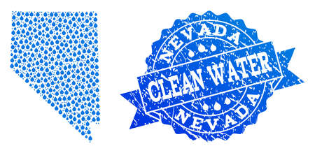 Map of Nevada State vector mosaic and clean water grunge stamp. Map of Nevada State formed with blue water tears. Seal with grunge rubber texture for natural drinking water.