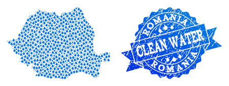 Map of Romania vector mosaic and clean water grunge stamp. Map of Romania created with blue water tears. Seal with unclean rubber texture for clean drinking water. Ilustração
