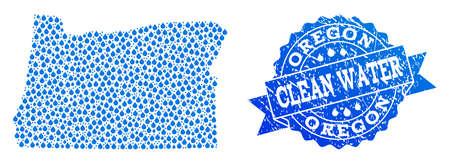 Carte de la mosaïque vectorielle de l'État de l'Oregon et du timbre grunge de l'eau propre. Carte de l'état de l'Oregon conçue avec des gouttes d'eau bleue. Joint avec texture en caoutchouc corrodé pour une eau potable propre.