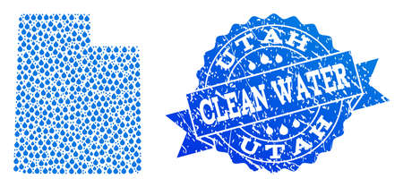 Map of Utah State vector mosaic and clean water grunge stamp. Map of Utah State designed with blue aqua tears. Seal with unclean rubber texture for clean drinking water.