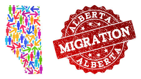 People migration traffic collage of mosaic map of Alberta Province and dirty seal stamp. Mosaic map of Alberta Province is constructed with different multicolored arrows and men.