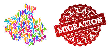 People migration traffic combination of mosaic map of Altai Republic and rubber stamp. Mosaic map of Altai Republic is designed with different colored arrows and people.