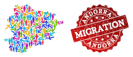 People migration traffic composition of mosaic map of Andorra and unclean stamp. Mosaic map of Andorra is constructed with different bright colored arrows and people.