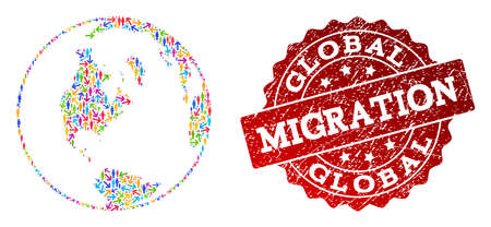 People migration traffic combination of mosaic global map of world and grunge seal. Mosaic global map of world is designed with different colorful arrows and people. Ilustração