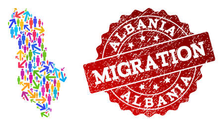People migration traffic collage of mosaic map of Albania and grunge stamp. Mosaic map of Albania is constructed with different colorful arrows and people. Ilustração