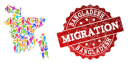 People travel traffic combination of mosaic map of Bangladesh and unclean seal stamp. Mosaic map of Bangladesh is designed with different multicolored arrows and people.