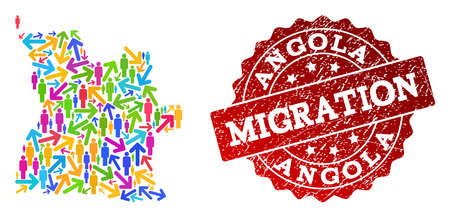 People migration traffic composition of mosaic map of Angola and grunge seal. Mosaic map of Angola is constructed with multidirectional bright colored arrows and people.