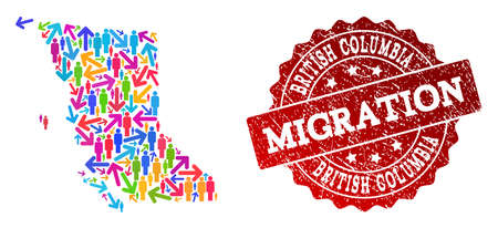 People migration traffic collage of mosaic map of British Columbia Province and rubber stamp. Mosaic map of British Columbia Province is constructed with different bright colored arrows and men.