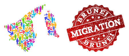 People travel traffic composition of mosaic map of Brunei and grunge seal stamp. Mosaic map of Brunei is constructed with multidirectional multicolored arrows and persons.