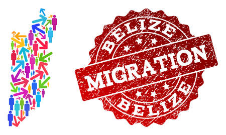 People migration traffic combination of mosaic map of Belize and rubber seal stamp. Mosaic map of Belize is constructed with different multicolored arrows and people.
