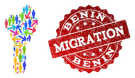 People migration traffic combination of mosaic map of Benin and unclean seal stamp. Mosaic map of Benin is designed with multidirectional colorful arrows and people.