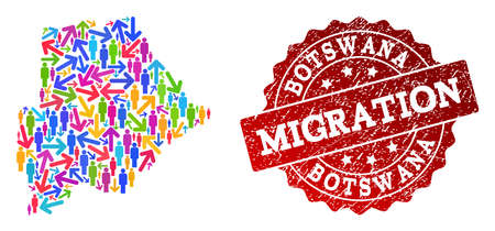 People migration traffic collage of mosaic map of Botswana and corroded seal stamp. Mosaic map of Botswana is designed with different multicolored arrows and crowd. Ilustração