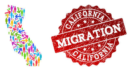 People migration traffic collage of mosaic map of California and corroded seal. Mosaic map of California is designed with different colored arrows and people.