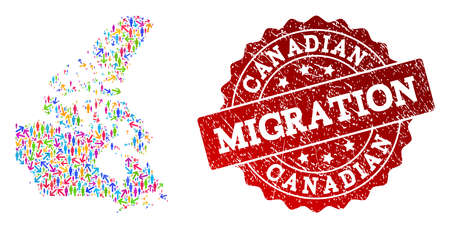 People migration traffic composition of mosaic map of Canada and rubber stamp. Mosaic map of Canada is designed with different colored arrows and people.