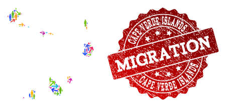 People migration traffic combination of mosaic map of Cape Verde Islands and rubber seal. Mosaic map of Cape Verde Islands is constructed with multidirectional multicolored arrows and people. Ilustração