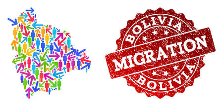 People travel traffic composition of mosaic map of Bolivia and unclean stamp. Mosaic map of Bolivia is designed with multidirectional colorful arrows and people.