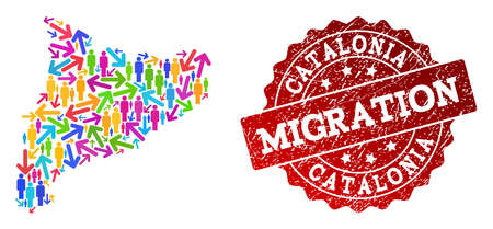 People migration traffic combination of mosaic map of Catalonia and rubber stamp. Mosaic map of Catalonia is designed with different colorful arrows and crowd. Illustration