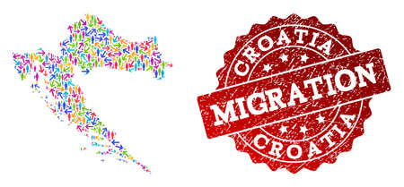 People migration traffic collage of mosaic map of Croatia and rubber seal. Mosaic map of Croatia is constructed with multidirectional multicolored arrows and people.