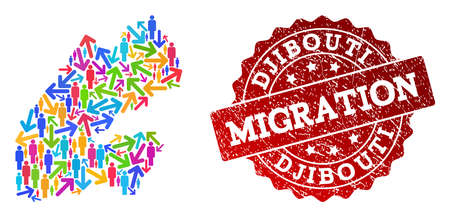 People migration traffic composition of mosaic map of Djibouti and corroded seal. Mosaic map of Djibouti is constructed with different multicolored arrows and persons.